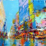 Abstract schilderij New York TImes Square paletmes