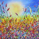 Abstracte bloemenvelden schilderij Pimpernel Blauwtje 90 x 130 cm