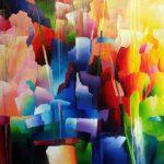 Abstracte kleurrijke colorscape 110x130 cm