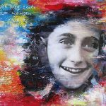 Anne Frank abstracte collage schilderij