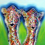 Kamelen blokjes grafisch kleurrijk kunstwerk
