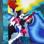 Koeien abstracte kunst 3D wol en hout