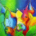 Abstracte varkens kleurrijk lijnenspel schilerij 100 x 100 cm