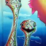 Struisvogels grafisch 3D kunst kleurrijk