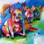 Varkens kleurrijke abstracte kunst