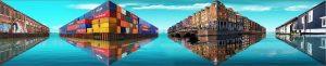 Amsterdam Optische Illusie grachten containers vastgoed woonboot