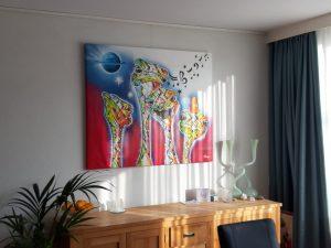 Schilderij aan de muur struisvogels op maat