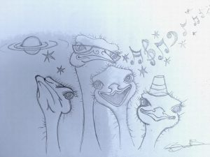 schets schilderij struisvogels kunst op maat